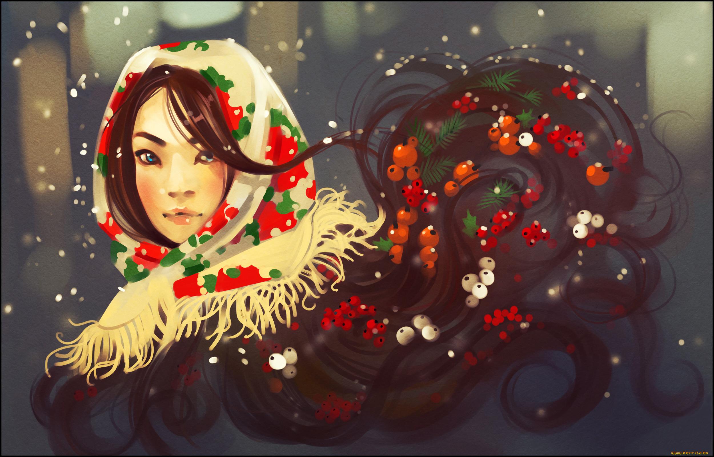 Картинки зимних девушек нарисованные